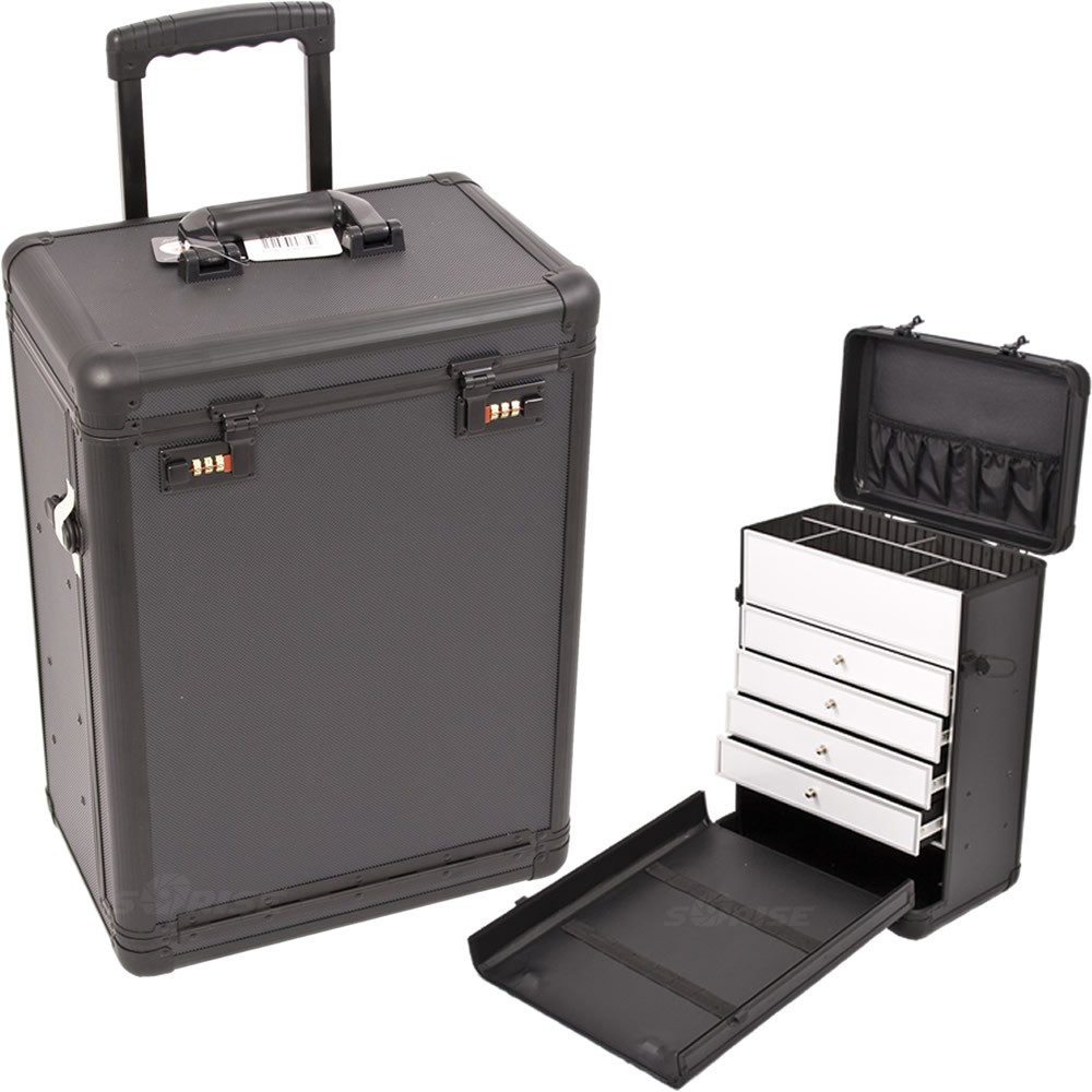 9743092775c Sunrise C6000 Rolling MAKEUP TRAIN COSMETIC BEAUTY CASE w Drawer Numlock