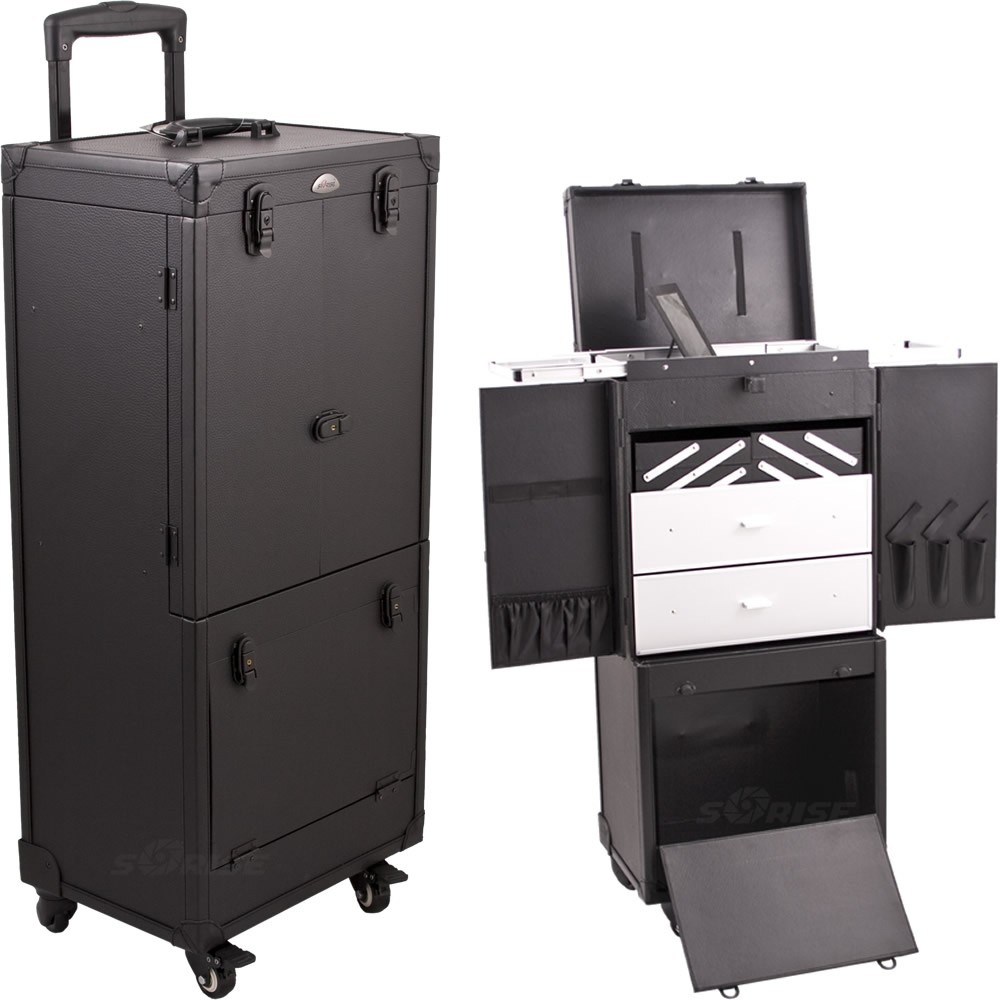 Sunrise C6019 4 Locking Wheel Rolling Cosmetic Makeup Beauty Case W/Drawer  Trays.