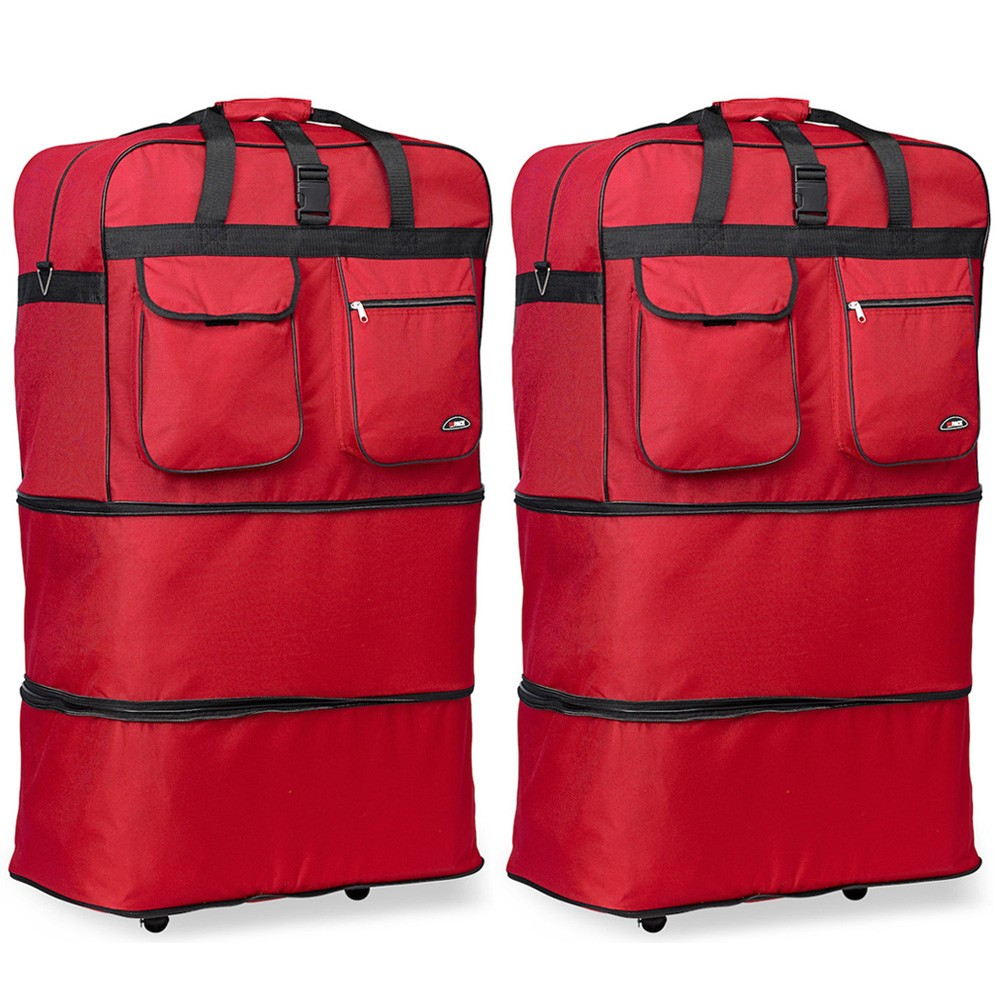 1094cf16a2 HIPACK Enorme SPIN ROLLING WHEELED BAG LUGGAGE-RED-30 Inch-Pack of 2