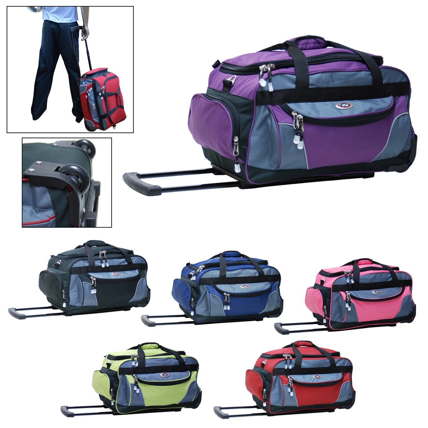 Champ 21 Inch Carry On Rolling Duffel Bag