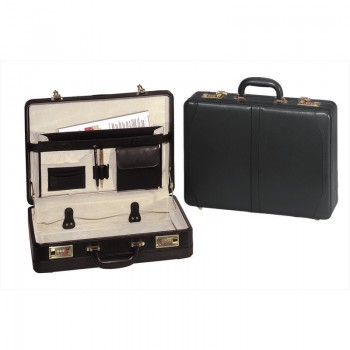 Transworld 9213 18-inch Leather Expandable Attache Briefcase