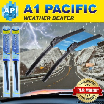 A1 Pacific - All season Bracketless J-HOOK Windshield Wiper Blades(Pack of 2)