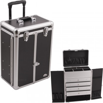 Sunrise C6008 Black Smooth 4 Drawers Rolling Cosmetic Makeup Case