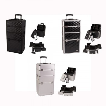 PRO 2-in-1 Aluminum Makeup Rolling Train Case Cosmetic Beauty Organizer