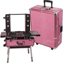 Sunrise C6010 Makeup Rolling Case Artist Cosmetic Train Table Station w/Light