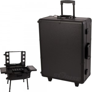 Sunrise C6011 Rolling Artist Makeup Case Cosmetic Train Table w/LED