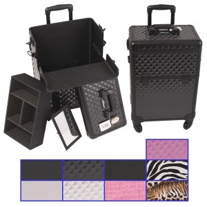 Sunrise E6301 Aluminum Rolling Artist Cosmetic Makeup Beauty Train Case