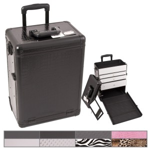 Sunrise E6303 Aluminum Rolling Artist Cosmetic Makeup Beauty Train Case w/Drawer