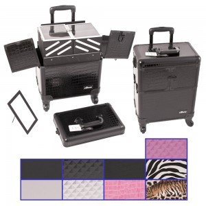 Sunrise E6304 Aluminum 4WD Rolling Artist Cosmetic Makeup Beauty Train Case
