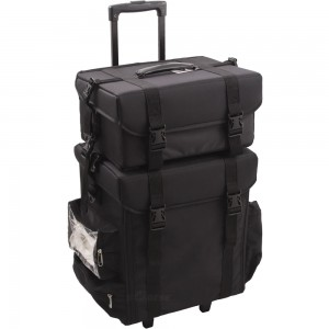 Sunrise I3264 2 in 1 Soft Side Trolley Rolling Makeup Train Case
