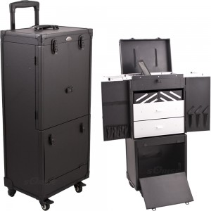Sunrise C6019 4 Locking Wheel Rolling Cosmetic Makeup Beauty Case w/Drawer Trays