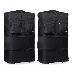 HIPACK Enorme SPIN ROLLING WHEELED BAG LUGGAGE-Black-30 Inch-Pack of 2